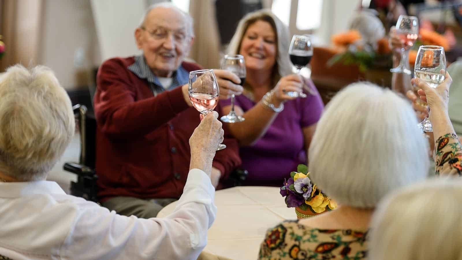 Senior group toasting wine glasses